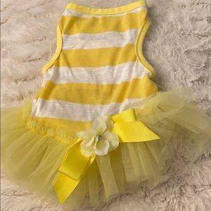 Yellow and White Striped Dog Dress